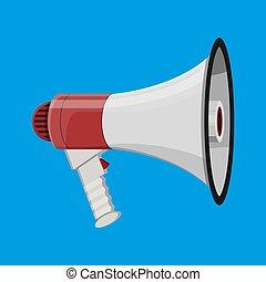 Loudspeaker or megaphone. Announcement element.