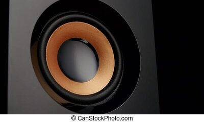 Loudspeaker shot with membrane movement, moving sub-woofer, speaker part, speaker playing loud music with bass, speaker cone vibrating, closeup