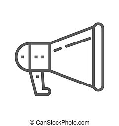 Loudspeaker Thin Line Vector Icon.