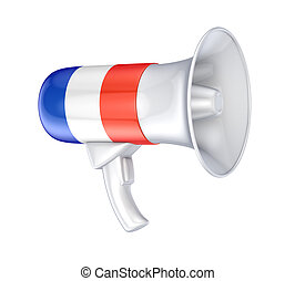 Loudspeaker with french flag. Isolated on white background....