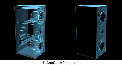 Loudspeaker x-ray blue transparent isolated on black
