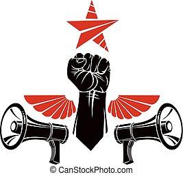 loudspeakers., blive, ornamental, bilagt, knug, emblem, næve, sociale, magt, vektor, dåse, vinger, rejst, ide, bruge, tattoo., symbol, muskuløse, fugl, meddelelse, revolution