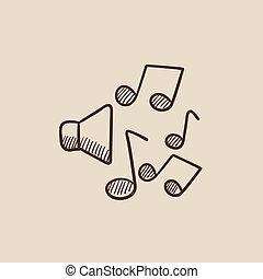 loudspeakers, com, notas música, esboço, icon.