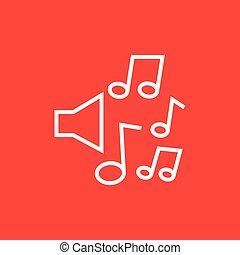 loudspeakers, com, notas música, linha, icon.
