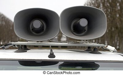loudspeakers on a car - loudspeakers on car during a sports...