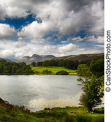 Sun illuminating Langdale Pikes with Loughrigg Tarn in foreground