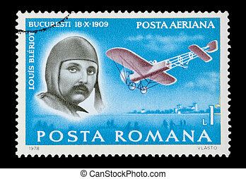 louis bleriot - mail stamp printed in Romania featuring...