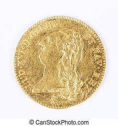 louis d'or - gold coin with Louis XVI, old french currency