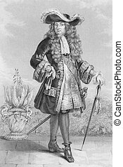 Louis XIV of France (1638 -1715) on engraving from 1886. ...