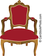 Louis XV armchair - Red upholstery Louis XV armchair...
