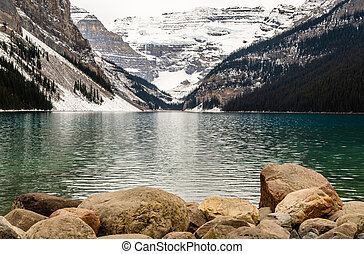 louise, rocher, parc, national, banff, rivage lac, alberta, canada