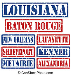 Set of Louisiana cities stamps on white background, vector illustration