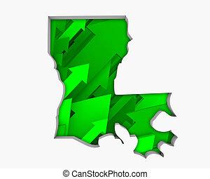 Louisiana LA Arrows Map Growth Increase On Rise 3d Illustration