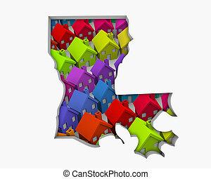 Louisiana LA Homes Homes Map New Real Estate Development 3d Illustration