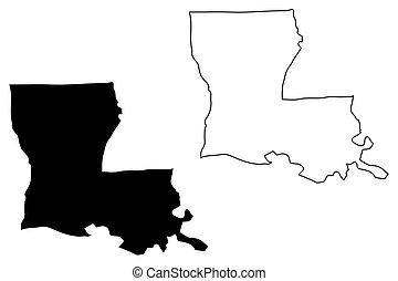 Louisiana map vector
