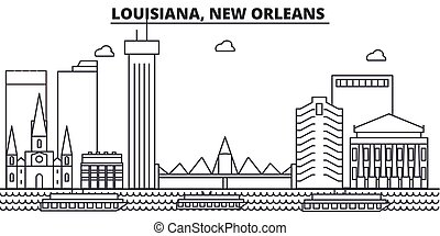 Louisiana, New Orleans architecture line skyline illustration. Linear vector cityscape with famous landmarks, city sights, design icons. Editable strokes