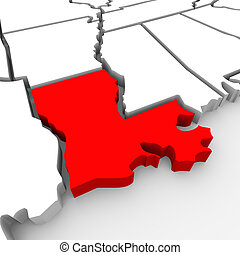 Louisiana Red Abstract 3D State Map United States America -...