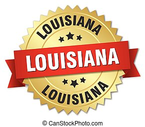 Louisiana round golden badge with red ribbon