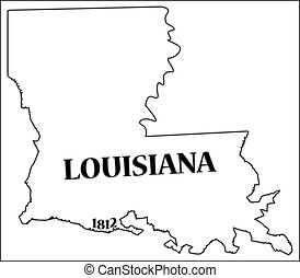 A Louisiana state outline with the date of statehood isolated on a white background
