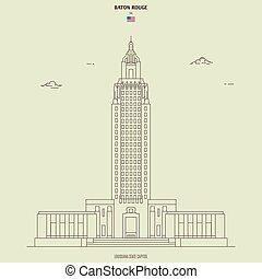 Louisiana State Capitol in Baton Rouge, USA. Landmark icon ...