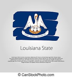 Louisiana State Flag with colored hand drawn lines in Vector Format