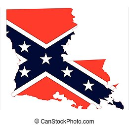 State map outline of Louisiana with confederate flag inset over a white background