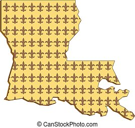 Retro style illustration of an outline of Louisiana state map of United States of America, USA with fleur-de-lis inside on isolated background.
