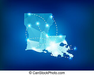 Louisiana state map polygonal with spotlights places