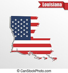 Louisiana State map with US flag inside and ribbon