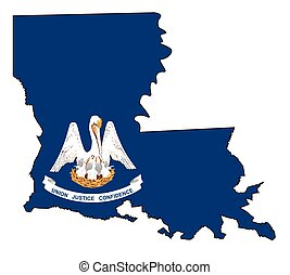 State map outline of Louisiana over a white background with flag inset