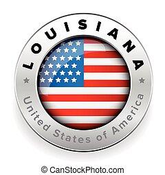 Louisiana Usa flag badge button