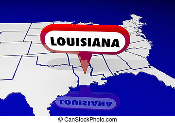 louisiane, la, carte état, épingle, emplacement, destination, 3d, illustration