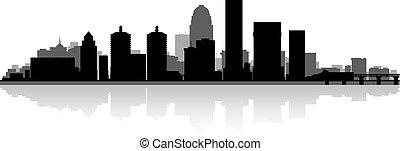 Louisville city skyline silhouette - Louisville USA city ...