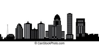 louisville, horizon, à, bâtiments, je