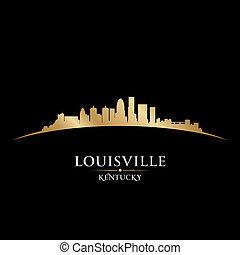 Louisville Kentucky city skyline silhouette black background...