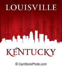 Louisville Kentucky city skyline silhouette red background -...