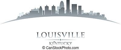 Louisville Kentucky city skyline silhouette white background...