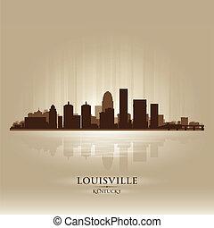 louisville, kentucky, skyline, cidade, silueta