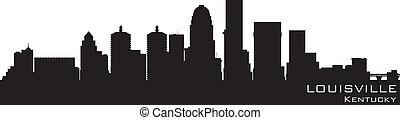 louisville, kentucky, skyline., detalhado, vetorial, silueta