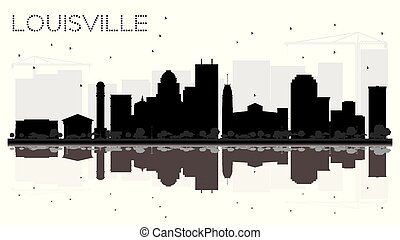 Louisville Kentucky USA City skyline black and white...