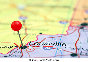 Louisville pinned on a map of USA - Photo of pinned...