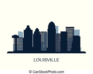 Louisville skyline, monochrome silhouette.