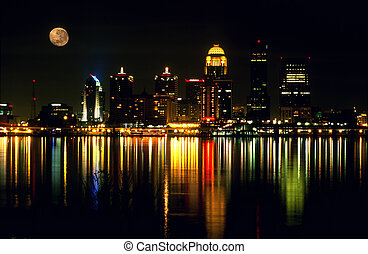 Louisville skyline - Night skyline of Louisville, Kentucky...