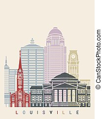 Louisville skyline poster in editable vector file