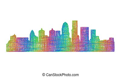 Louisville skyline silhouette - multicolor line art