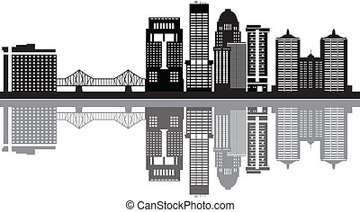 louisville skyline with buildings in black and white