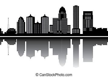 louisville skyline with buildings in black