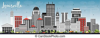 Louisville Skyline with Gray Buildings and Blue Sky.