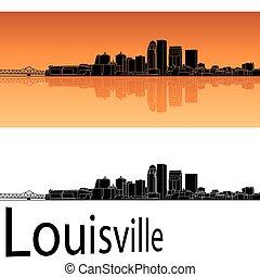 louisville, sylwetka na tle nieba, w, pomarańczowe tło