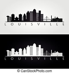Louisville usa skyline and landmarks silhouette, black and...